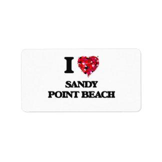 Amo la playa Rhode Island del punto de Sandy Etiqueta De Dirección