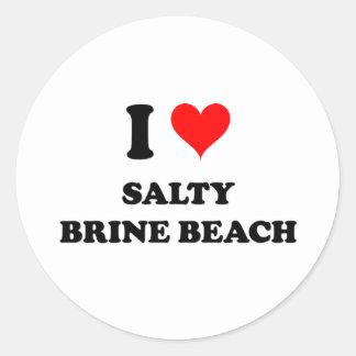 Amo la playa salada Rhode Island de Brine Pegatinas Redondas