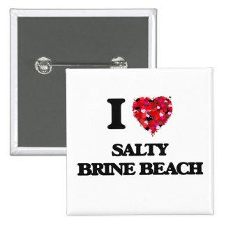 Amo la playa salada Rhode Island de Brine Pin Cuadrada 5 Cm