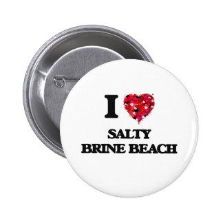 Amo la playa salada Rhode Island de Brine Pin Redondo 5 Cm