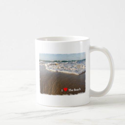 Amo la playa taza básica blanca