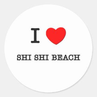 Amo la playa Washington de Shi Shi Pegatina Redonda