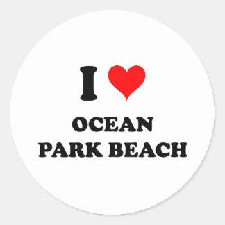 Amo la playa Washington del parque del océano Pegatina
