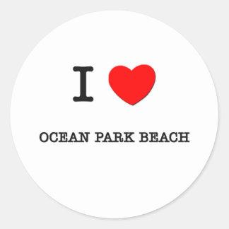 Amo la playa Washington del parque del océano Etiquetas Redondas