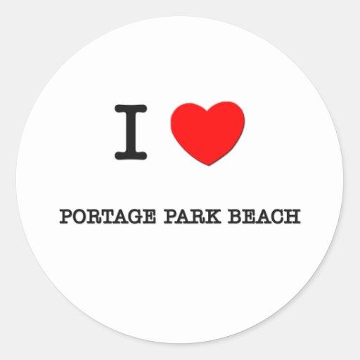 Amo la playa Wisconsin del parque de Portage Etiquetas Redondas