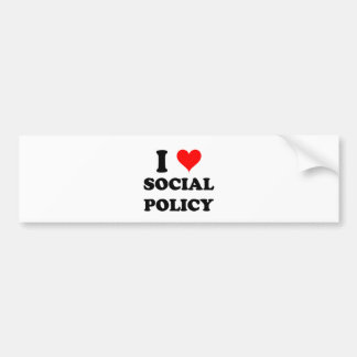 Amo la política social pegatina de parachoque