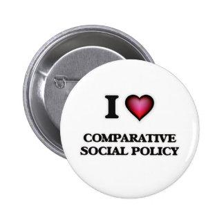 Amo la política social comparativa pin redondo de 2 pulgadas