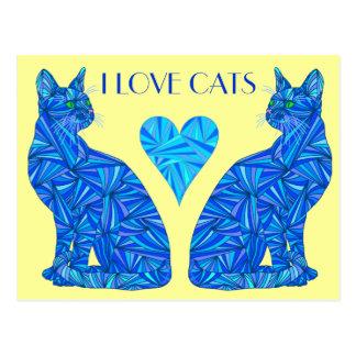 Amo la postal abstracta azul del gato de los gatos