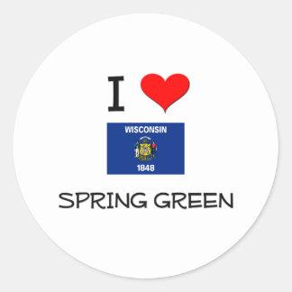 Amo la primavera Wisconsin verde Pegatina Redonda