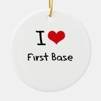 Amo la primera base adorno navideño redondo de cerámica