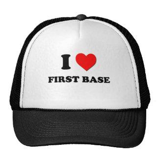 Amo la primera base gorras de camionero