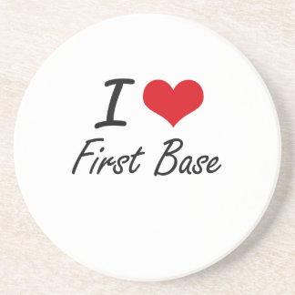 Amo la primera base posavasos personalizados