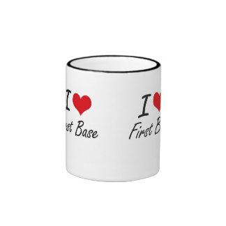 Amo la primera base taza a dos colores