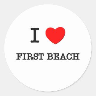 Amo la primera playa Guam Pegatina Redonda