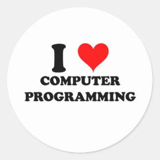 Amo la programación informática pegatina redonda