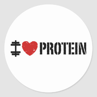 Amo la proteína pegatina redonda