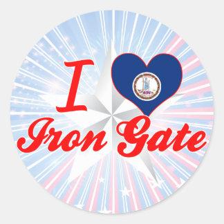 Amo la puerta del hierro, Virginia Pegatinas Redondas