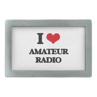 Amo la radio aficionada hebillas de cinturón rectangulares