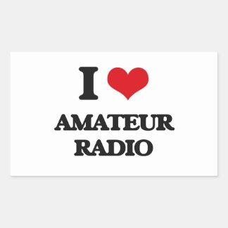Amo la radio aficionada rectangular pegatina