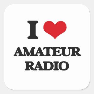 Amo la radio aficionada calcomanía cuadrada personalizada