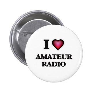 Amo la radio aficionada pin redondo de 2 pulgadas