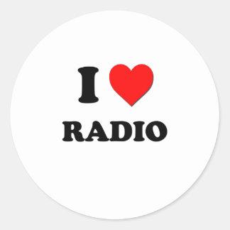 Amo la radio etiquetas redondas