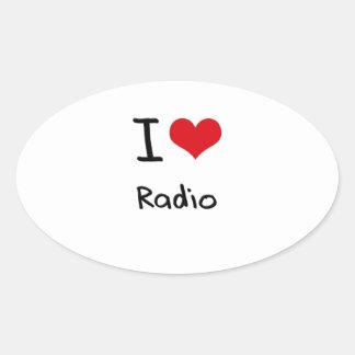 Amo la radio calcomanía ovalada