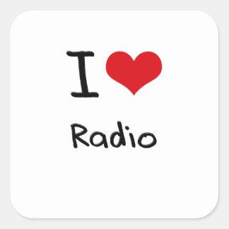 Amo la radio pegatinas cuadradases personalizadas