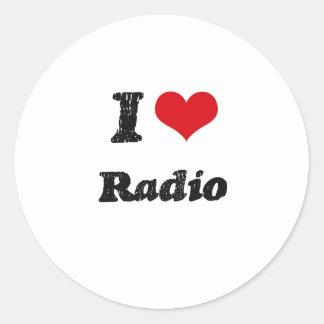 Amo la radio pegatina redonda