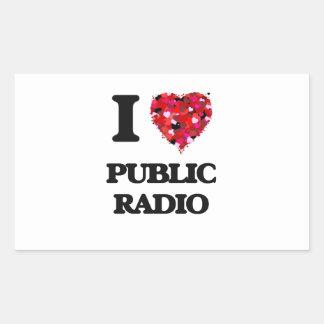 Amo la radio pública pegatina rectangular