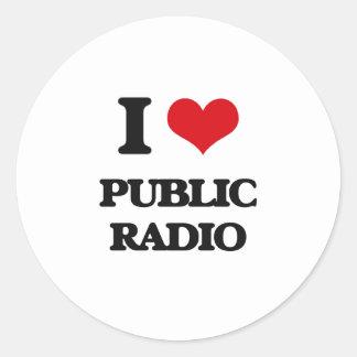 Amo la radio pública pegatina redonda