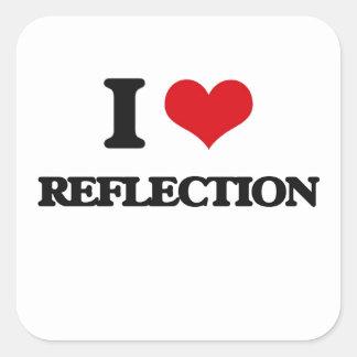 Amo la reflexión calcomania cuadradas personalizadas