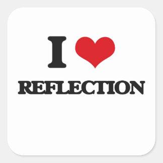 Amo la reflexión calcomanías cuadradass personalizadas