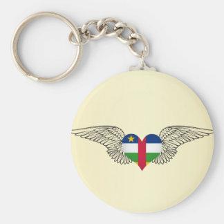 Amo la República Centroafricana - alas Llavero Redondo Tipo Pin