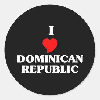Amo la República Dominicana Pegatina Redonda