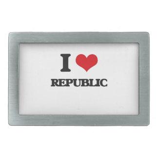 Amo la república hebilla de cinturón rectangular