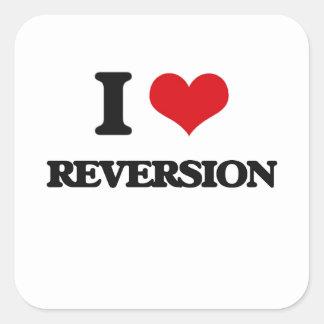 Amo la reversión pegatina cuadradas personalizadas