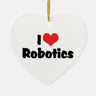 Amo la robótica adorno navideño de cerámica en forma de corazón