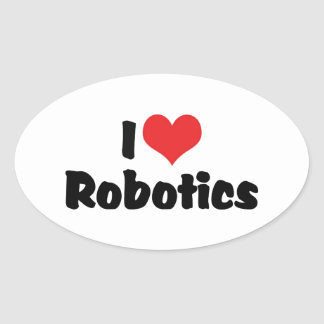 Amo la robótica pegatina ovalada