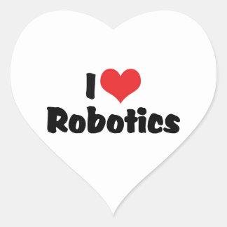Amo la robótica pegatinas de corazon