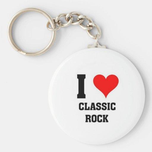 Amo la roca clásica llaveros