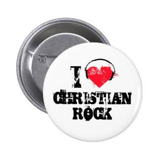 Amo la roca cristiana pin redondo 5 cm