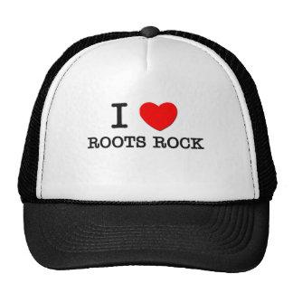 Amo la roca de las raíces gorros bordados