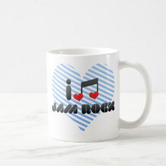 Amo la roca del atasco tazas de café