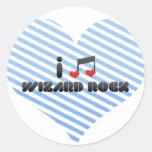 Amo la roca del mago etiqueta redonda