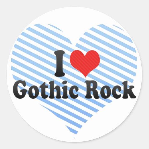 Amo la roca gótica pegatina redonda