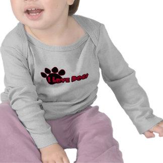 Amo la ropa del bebé de los perros camiseta
