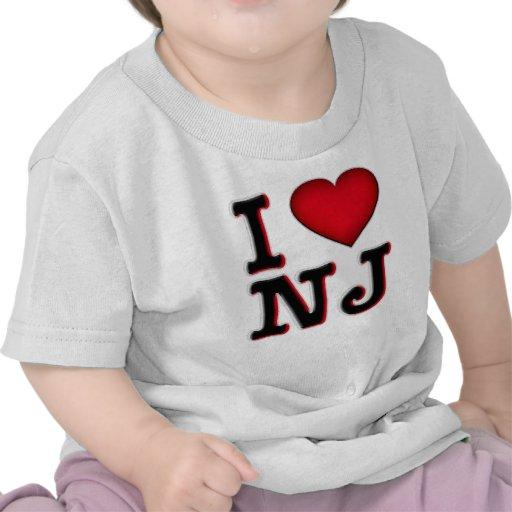 Amo la ropa y la mercancía de NJ Camiseta