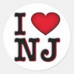 Amo la ropa y la mercancía de NJ Pegatina