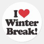 ¡Amo la rotura del invierno! Etiquetas Redondas